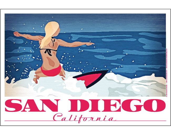 i liked this because its not a picture of the landscape its actually a picture of one one surfing its what the place is known for and the bold writing is linked in to the girl surfing and the font is pink