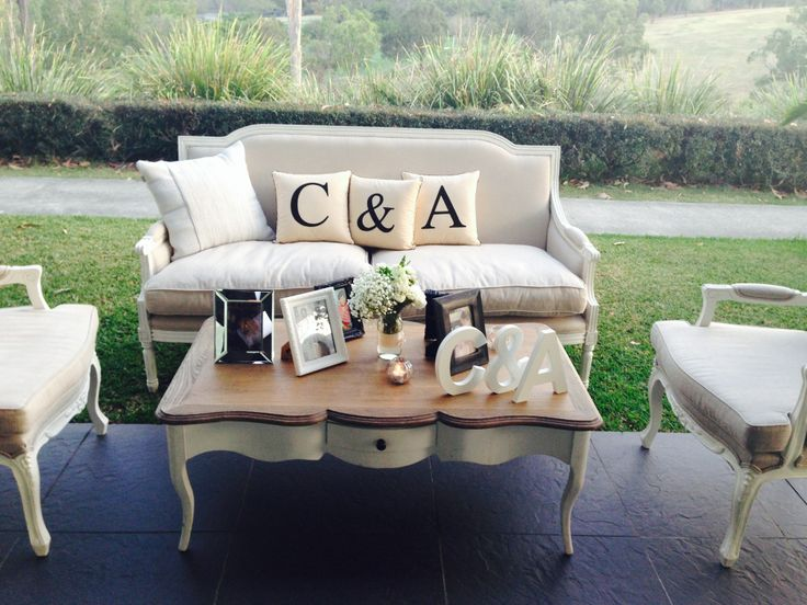 Applique 'C & A' cushions used in a wedding setting :-)