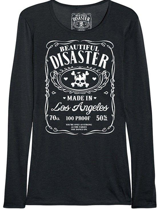 "Women's ""100 Proof"" Long Sleeve Thermal by Beautiful Disaster (Black) #InkedShop #thermal #womenswear #longsleeve"