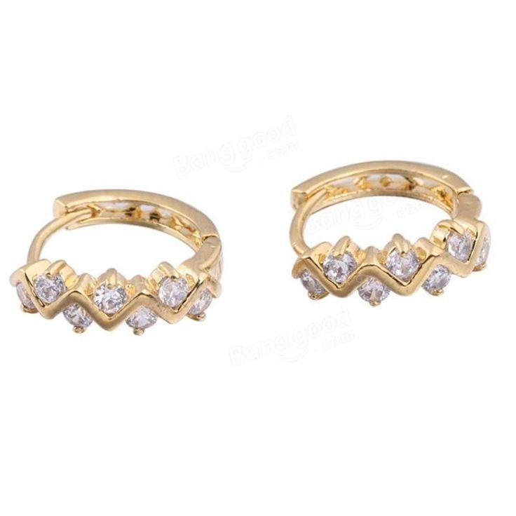 Kuniu Elegant Gold Plated Crystal Rhinestone Hoop Earrings For Women at Banggood