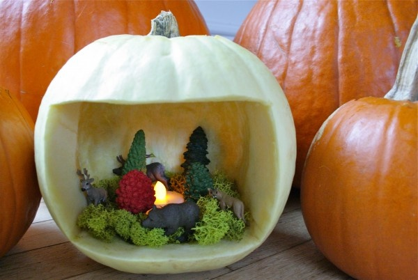 There are all sorts of possibilities with this pumpkin diorama idea... Here is our forest pumpkin scene!