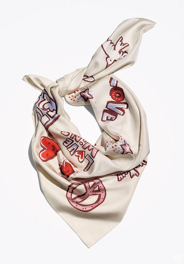 Silk Square Scarf - Flower Heart by VIDA VIDA Ov7o1rc