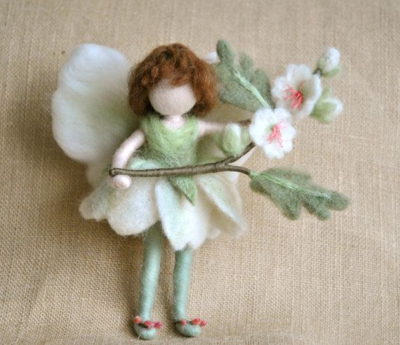 Flower Fairy Waldorf inspired needle felted doll May by MagicWool
