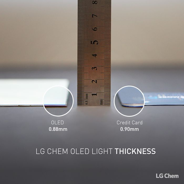 LG Chem OLED light panel has a thickness of 0.88mm which is thinner than a 0.9mm credit card and it does not need any additional parts to light beu2026 & LG Chem OLED light panel has a thickness of 0.88mm which is ... azcodes.com