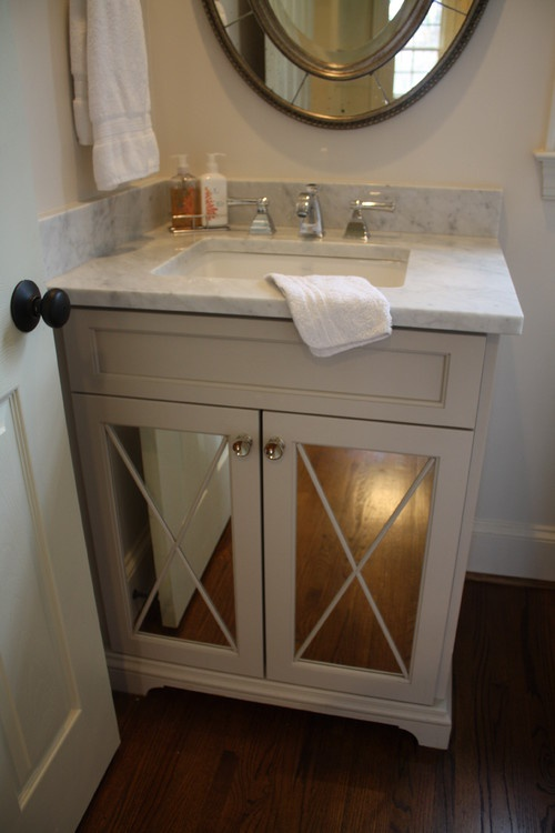 Powder Room   Vanity With Glass Doors. Would Like The Doors To Be Either  Froster