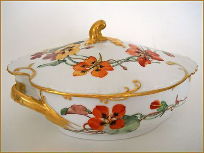 ~PLEASE LOOK AT MY OTHER AUCTIONS FOR MORE ANTIQUE HAND PAINTED PORCELAIN LIMOGES~ On auction is an Exquisite Victorian 19th Century Limoges Porcelain Tureen hand painted in the Art Nouveau style with