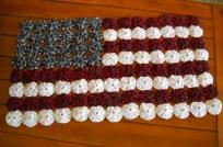 Handmade American Flag YoYo Table Topper or Wall Quilt