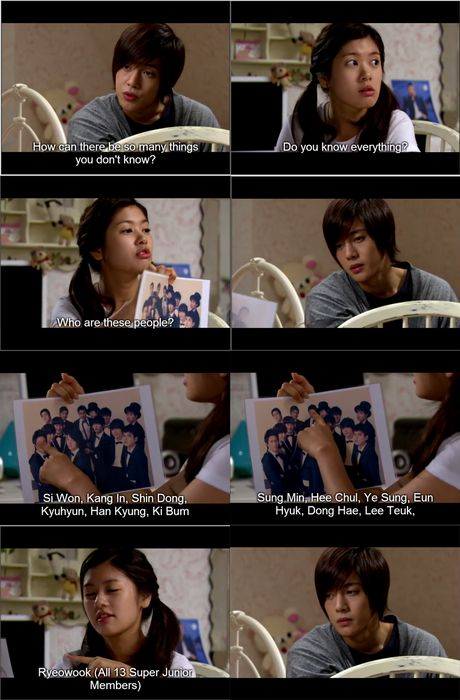 Playful Kiss #kpop This scene... Just yes. bhahaha!  I can name them all too....plus the other two! There is FIFTEEN in Suju! (counting Henry and Zhoumi)
