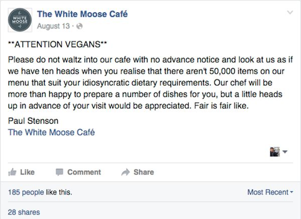 Facebook Fight of The Day: Irish Cafe Declares War on Vegans, Hilarity Ensues