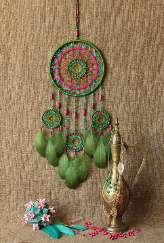 °Large Green Boho DreamCatcher by MyHappyDreams