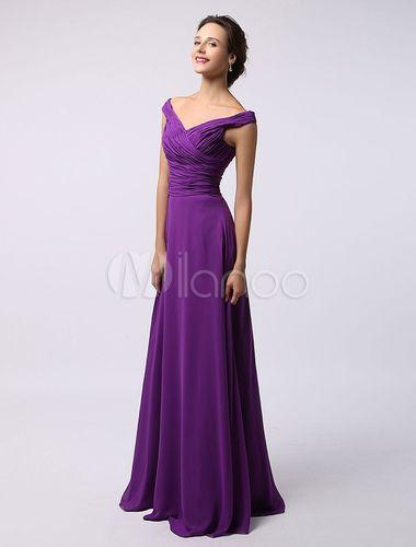 Lavendel aus hellgrüner geraffte Chiffon Brautjungfer Kleid