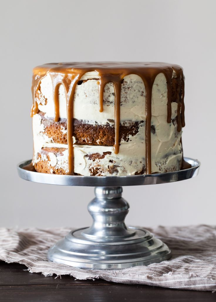 Sticky toffee pudding cake studded with dates and layered between Caramelized White Chocolate Buttercream. Make extra toffee sauce to pour over the cake!