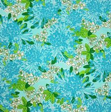 New Lilly Pulitzer Cotton Dobby Fabric Turquoise EXBLOOMSION 1 Yard