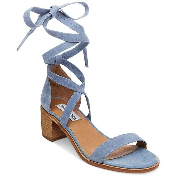 Steve Madden Women's Rizza Lace-Up Block-Heel Sandals ($79) ❤ liked on Polyvore featuring shoes, sandals, light blue, lace up block heel sandals, block heel sandals, block-heel sandals, heeled sandals and wrap sandals