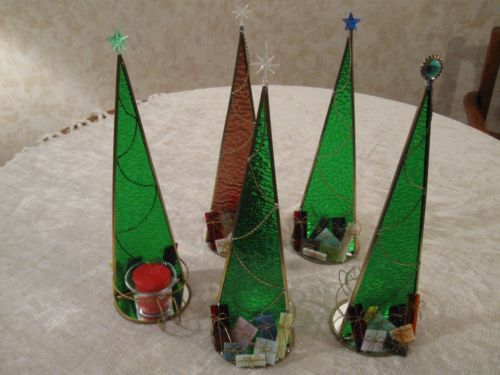 Stained Glass Christmas Tree Candle Holder | eBay