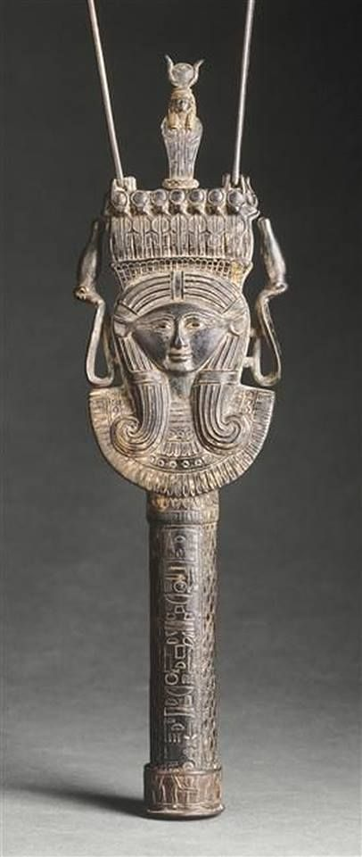 *EGYPT ~  head of Hathor,3rd intermediate period (about 1069-664 BC).MATERIAL bronze, LOCATION Paris, Louvre