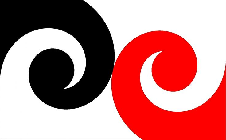 Equality variation 1 by Colin McLeod, tagged with: Black, Red, White, Koru, Landscape, Māori culture.