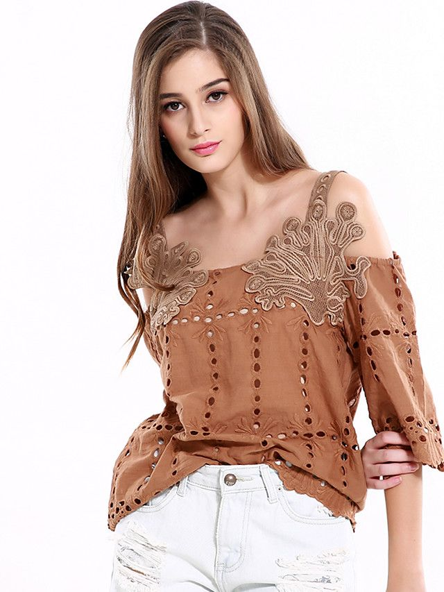 Women's Casual/ Spring /Summer Fashion Loose Shirt Embroidered Strap Cut Out 1/2 Length Sleeve/ Khaki color/ Cotton  - USD $18.99