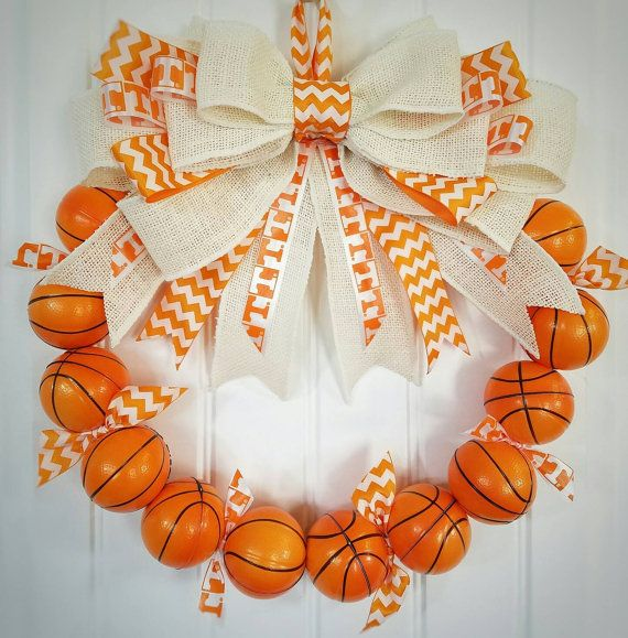 Check out this awesome Tennessee Vols Inspired Basketball Wreath!! Too cool!!  Check out this item in my Etsy shop https://www.etsy.com/listing/466040339/university-of-tennessee-inspired