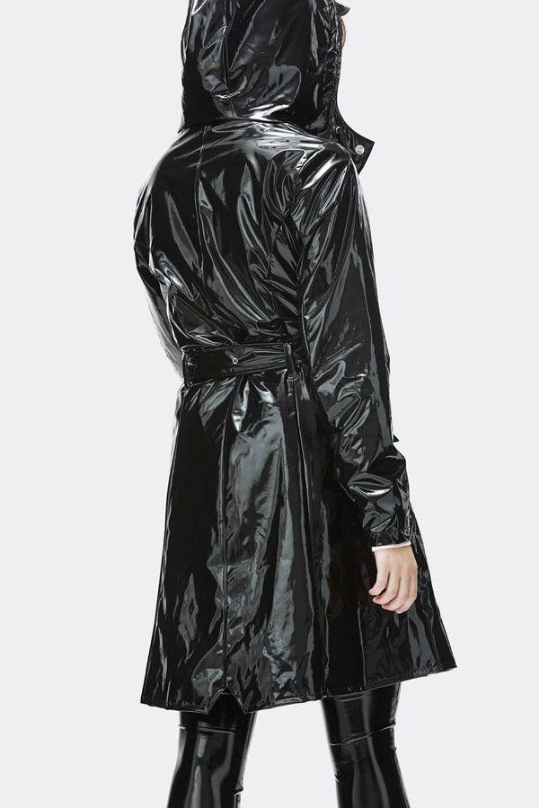 c5eac02fdcea Rains — dámský černý lesklý pršiplášť s kapucí — trenčkot — nepromokavá  bunda — womens black