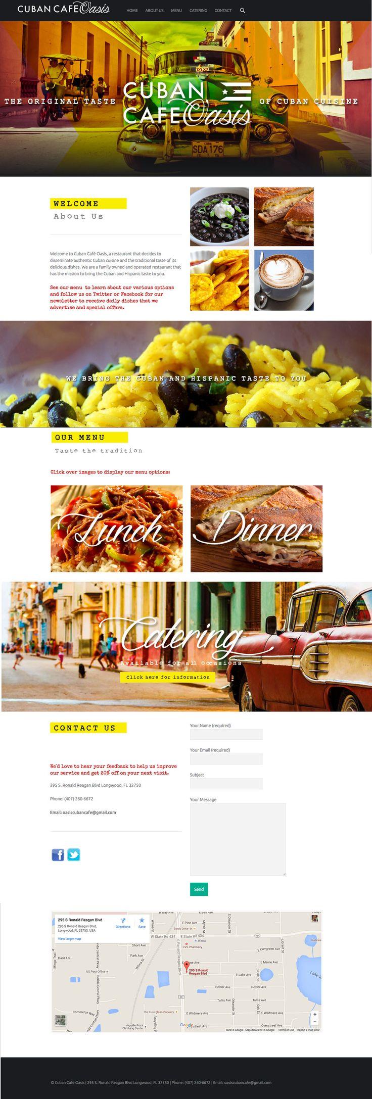 Sitio web para Cuban Cafe Oasis ©VIVA 2015
