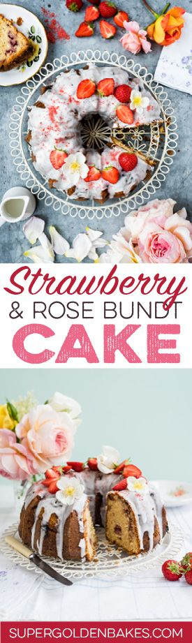 This gorgeous rose scented bundt cake is dotted with fresh strawberries and covered with a simple lemon glaze.