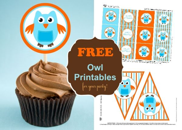 DIY Owl Cupcake Toppers & Bunting Flags {FREE printables} | Marabous