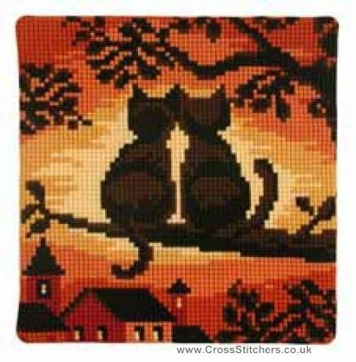 Cats Sunset Cushion Front Cross Stitch Kit by Vervaco