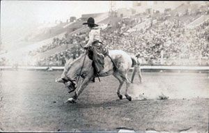 Bonnie McCarrol at the Pendleton Round Up - saddle bronc - trick rider - a real cowgirl shown here in 1926 -