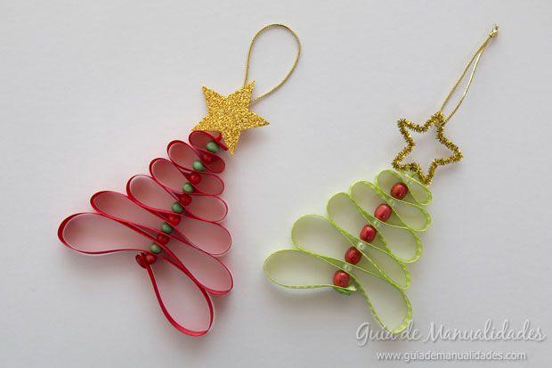 Adornos navideños con cintas - Guía de MANUALIDADES Más