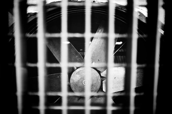 An air fan used to exhaust air from a garage of an apartment building in Finland.