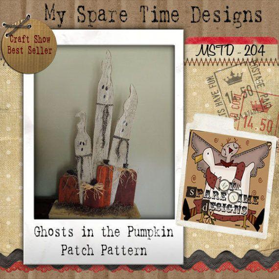 Wooden Ghosts Pumpkin Pattern Primitive by MySpareTimeDesigns2