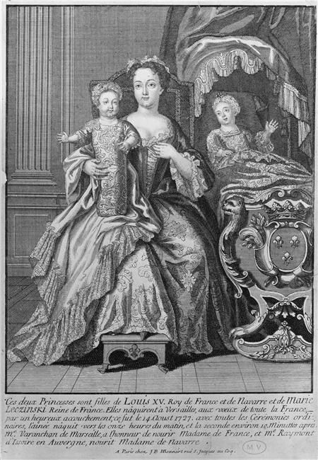 Madame Elisabeth de France (1727-1759) and Madame Henriette de France (1727-1752), the first two legitimate children of Louis XV, with their wet nurse, 1727 print, French school (Chateau de Versailles)