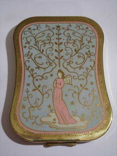 Rare Vintage HELENA RUBINSTEIN Enamel 'Heaven Sent' Angel Powder Compact 1940s