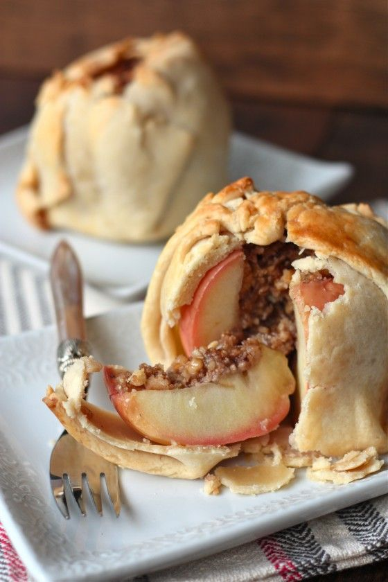 Wrapped Baked Apple Crumbles