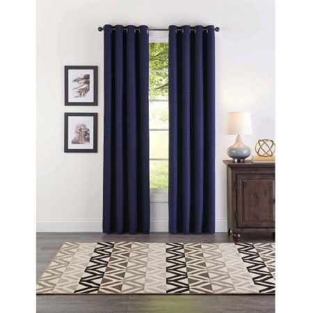 Better Homes and Gardens Basketweave Curtain Panel, Navy, Blue