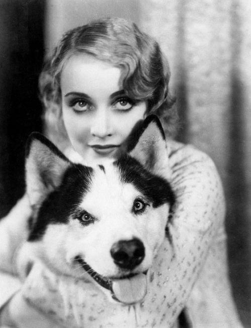 Carole Lombard with her husky dog.  Uploaded By www.1stand2ndtimearound.etsy.com