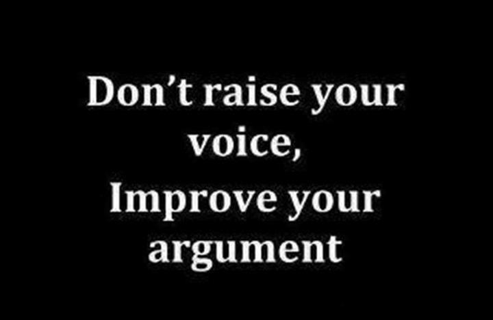 Don't raise your voice.  Improve your argument.
