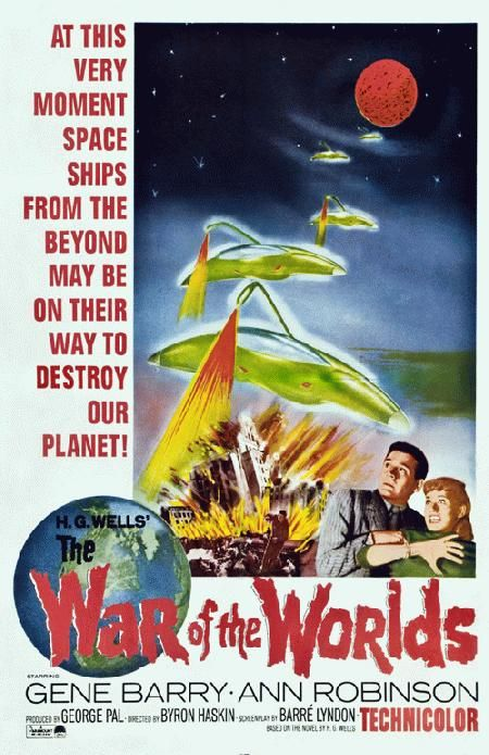 High quality reprinted movie poster for War of the Worlds starring Gene Barry, Ann Robinson and Les Tremayne and written by H.G Wells from 1953. 11 x 17 high quality reproduction on card stock.