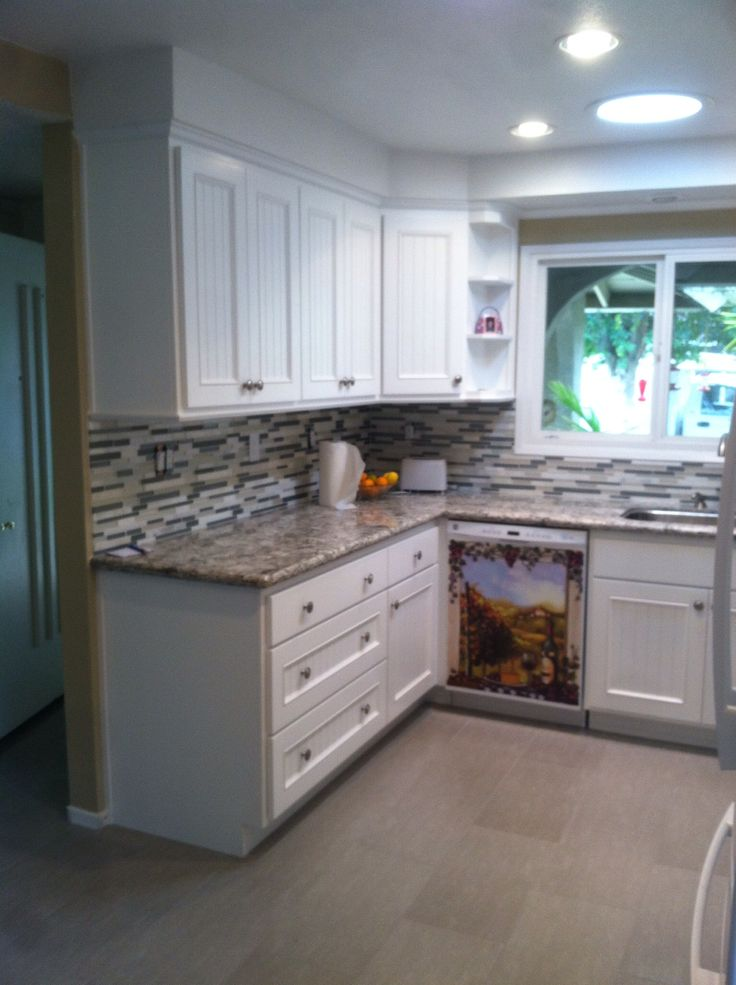 White Bead Board Cabinet Doors Cambria Quartz Bellingham