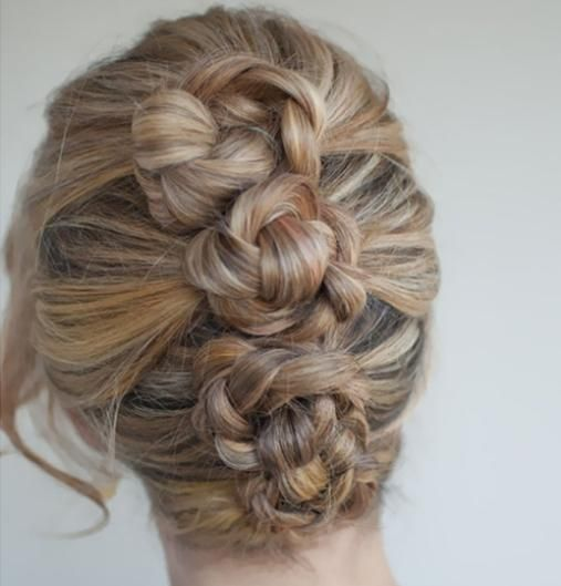 Three braids twisted into buns side by side - 101 Braid Hairstyles You Need to Know | Beauty High