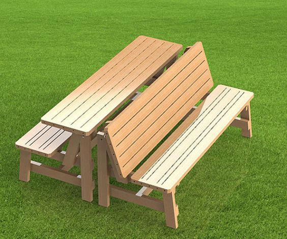you can build your own patio benches that fold up into a picnic table with our