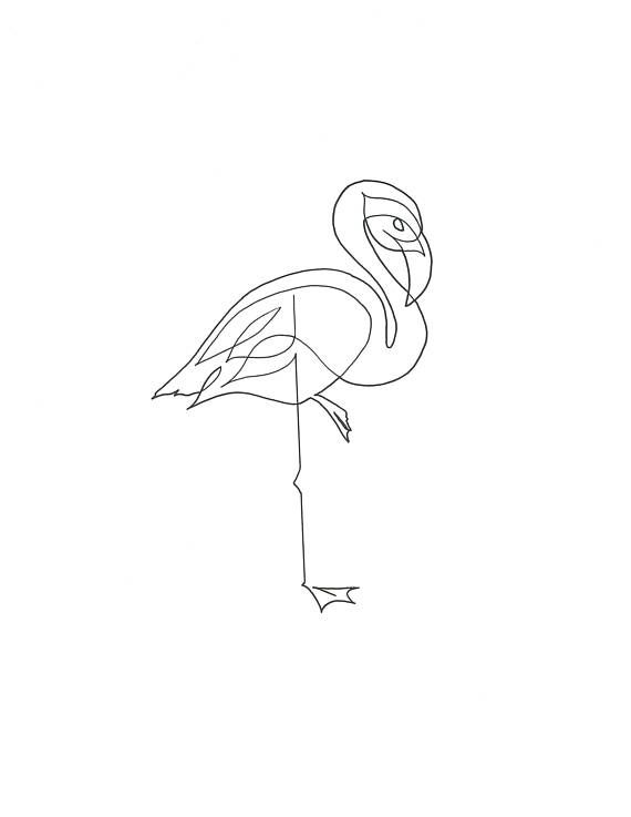 Single Line Drawing - Flamingo | condo room plans | Pinterest ...