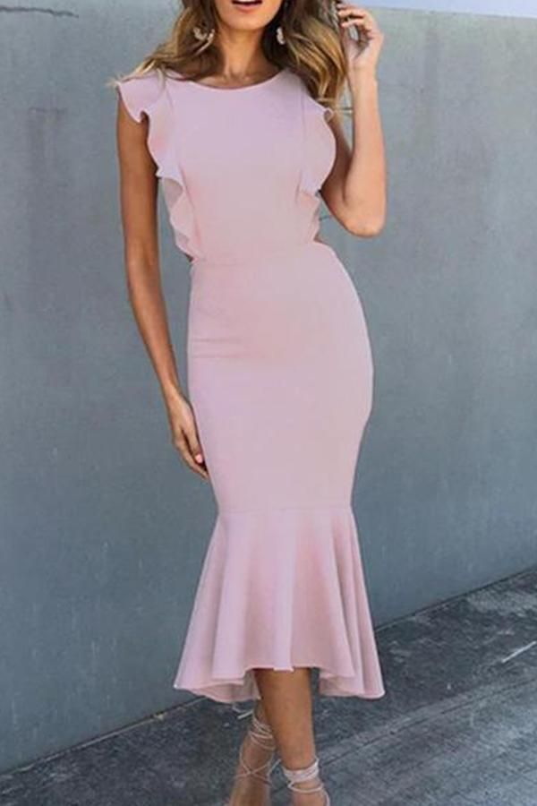 f2989354d66 Casual Sexy Backless Sleeveless Pure Color Fishtail Maxi Dresses ...