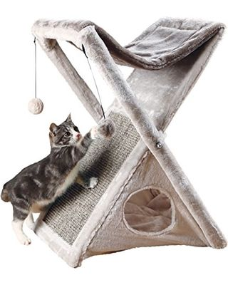 The unique design of our Miguel Fold and Store Cat Tower make it ideal for small spaces. Simply fold shut for quick and easy storage. While in use, it will provide endless opportunities for cats to play, explore, scratch or just relax. Felines can sharpen their claws on the durable sisal scratching surface instead of on your furniture or carpet, giving them a healthy outlet for their scratching instincts. Spunky cats can jump, climb or perch in the plush hammock and lie in wait for…