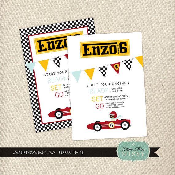 Ferrari Invite Birthday or Shower DIY Printable by LittleMissMissy, $15.00