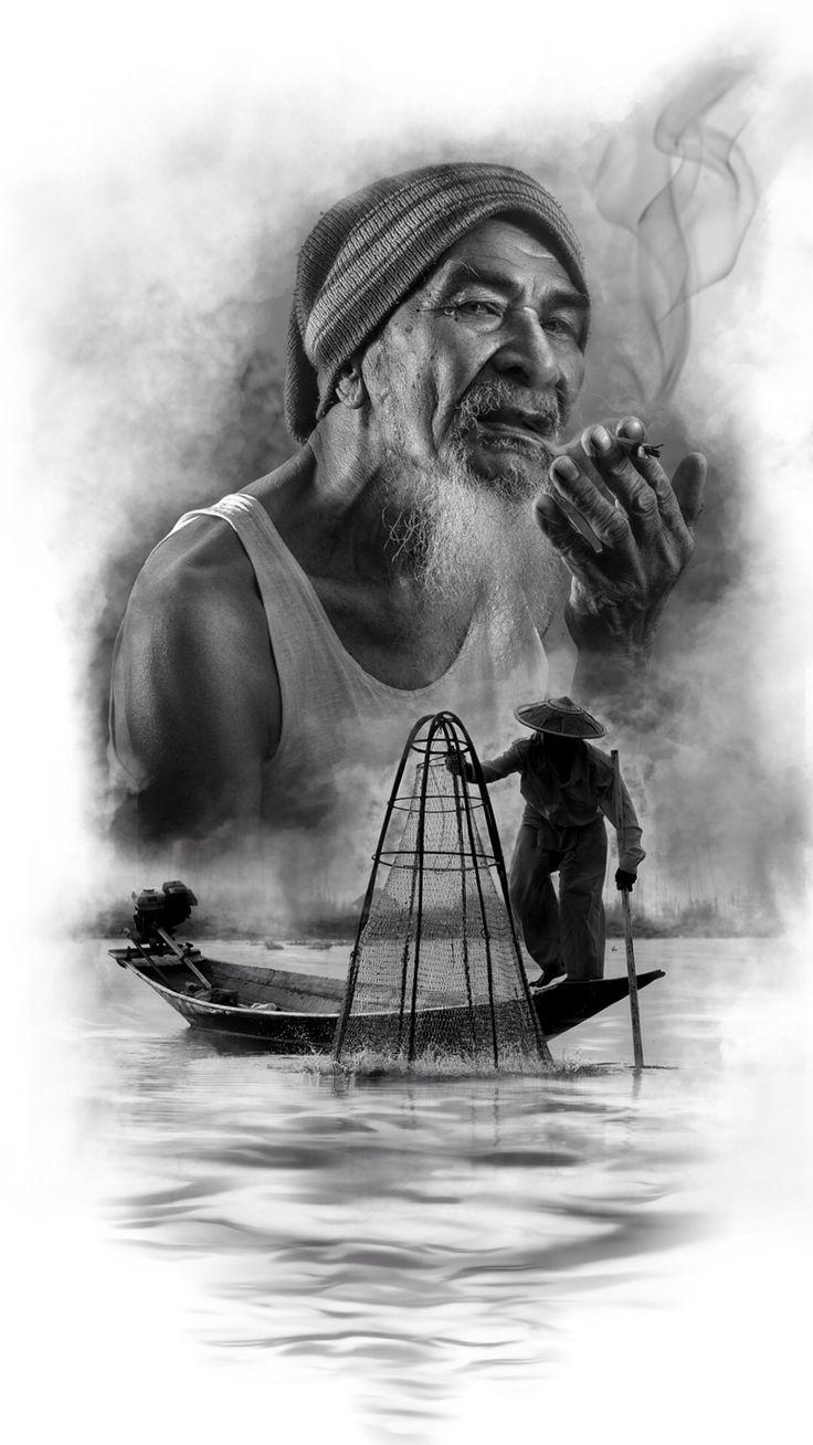 #fisherman #tattoo #tattoodesign #procreate #ipadart