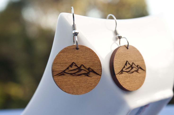 Mountain engraved cedar earrings - $30