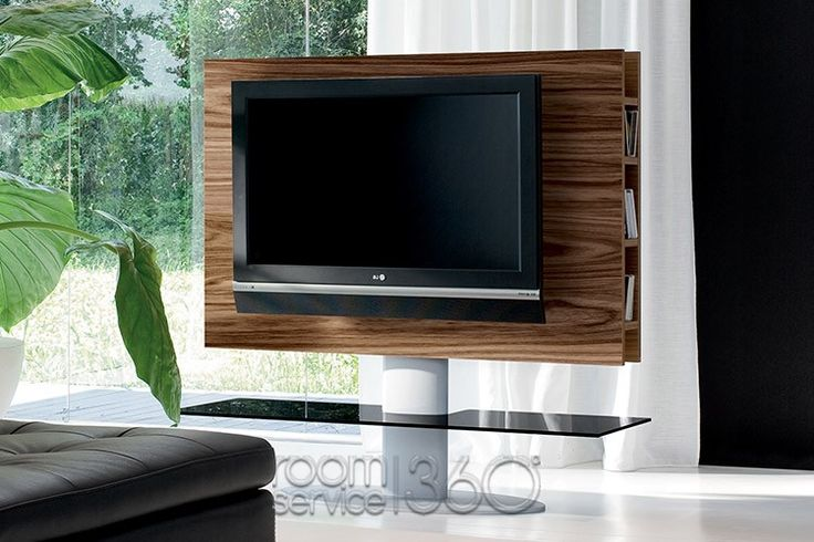 Cortes Swivel TV Stand in Walnut Color with Black Glass Shelf by Tonin Casa