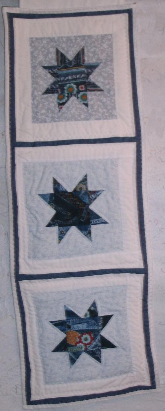 Blue Star Quilted Wall Hanging 34 L 12 W Starquilts Madeincanada Quiltedwallhangings Quiltedstars Wallhanging Wallhangings Quilts Quilt